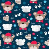 cute teddy bear pattern vector illustration