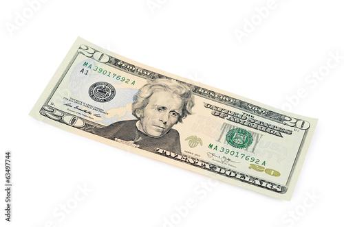 Fotografia  Twenty dollars isolated on white background