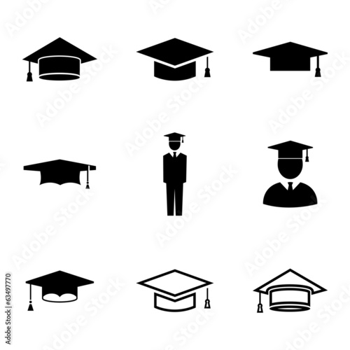 Vector black academic cap icons set #63497770