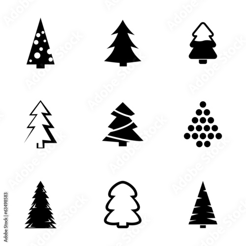 Vector Black Christmas Tree Icons Set Buy This Stock Vector And