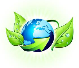 Panel Szklany Podświetlane Do biura ecology concept in the world - europe