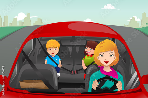 Fotografia, Obraz  Mother driving with her children
