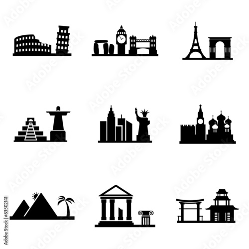Plagát  Vector black landmarks icons set