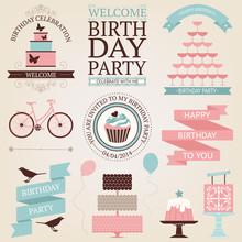 Vector Set Of Birthday Celebra...