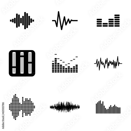 Fotografía  Vector black music soundwave icons set