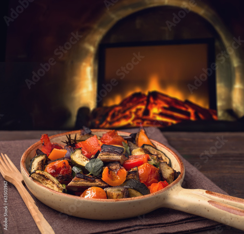Grilled vegetables on serving pan Poster