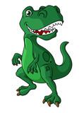 Fototapeta Dinusie - Green cartoon dinosaur