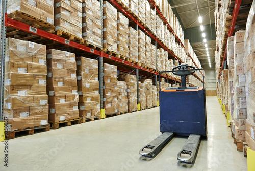 Photo pallet stacker truck at warehouse
