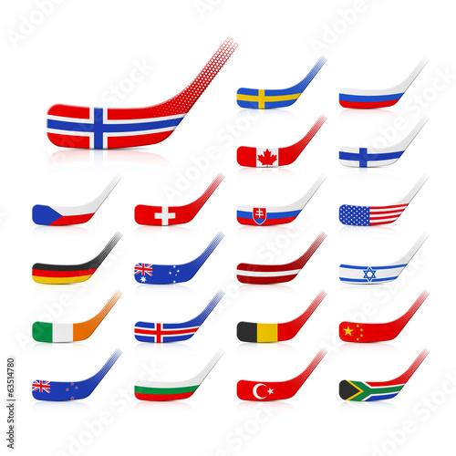 Photo Ice hockey sticks with flags
