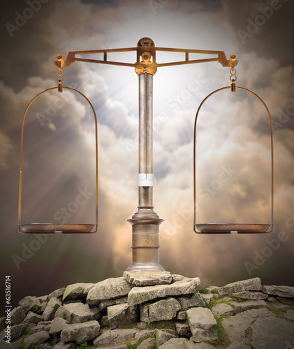 Weight scale on the peak. Divine justice concept. Canvas Print