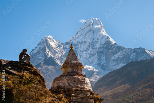 Poster Nepal Buddhist stupa with Ama Dablam in background, Nepal