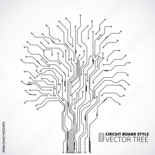 Fotografie, Obraz  Circuit board tree background
