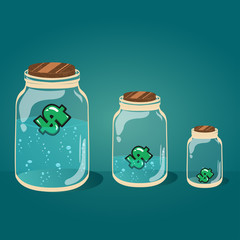 Glass jar with water and money vector EPS-10.