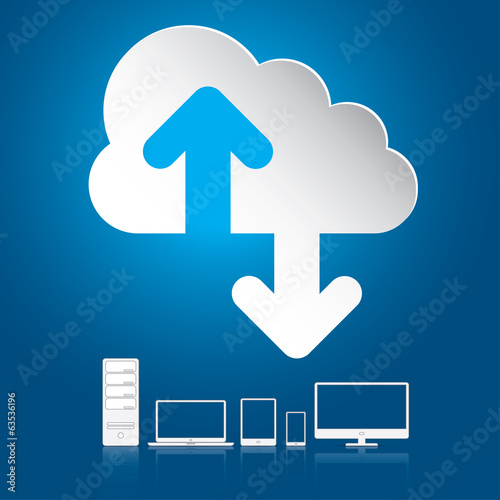 Stampa su Tela Cloud computing concept. Vector illustration in EPS10.