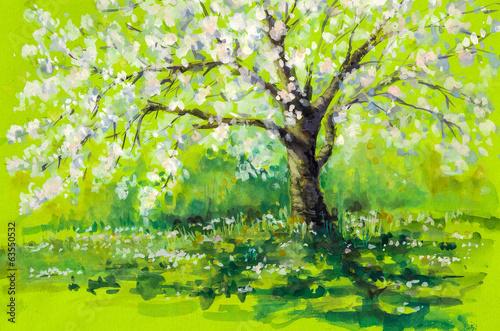 akwarela-drzewo-wisni-jesienia