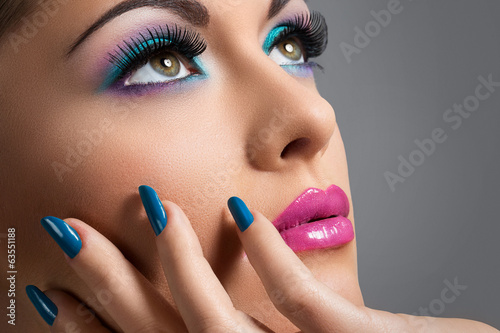 Beautiful girl with colorful makeup Poster