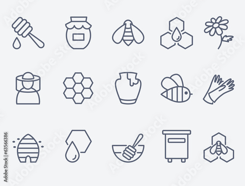 Photo Honey and beekeeping icons