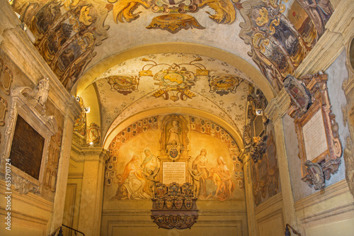 Bologna Ceiling And Walls Of External Atrium Of Archiginnasio