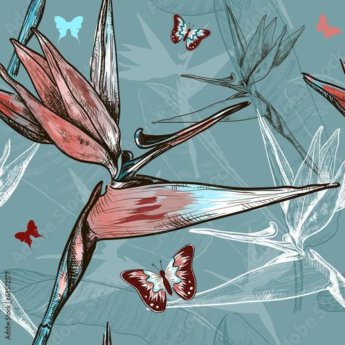 ptak-rajskich-kwiatow-wzor