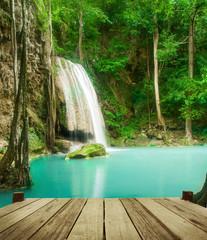 FototapetaWaterfall in tropical forest at Erawan national park Kanchanabur