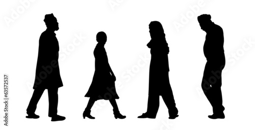 Photo  indian people walking silhouettes set 6
