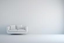 Raum In Weiß Mit Sofa Und Kis...