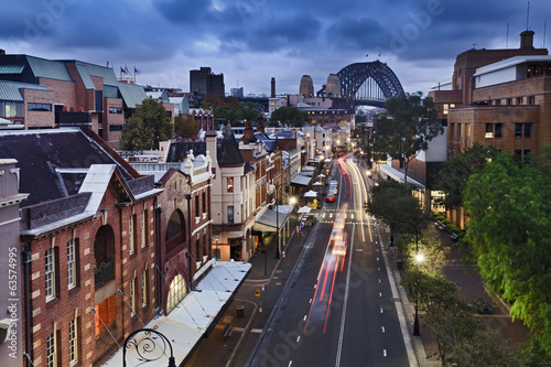 In de dag Australië Sydney The Rocks bridge from Top sunset