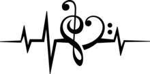 Musik Frequenz Noten Herz