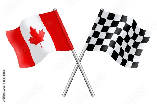 Fotografía  Flags : Canada and checkerboard