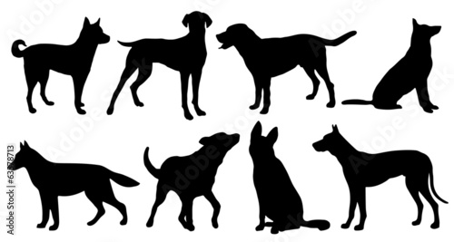 dog silhouettes Canvas Print