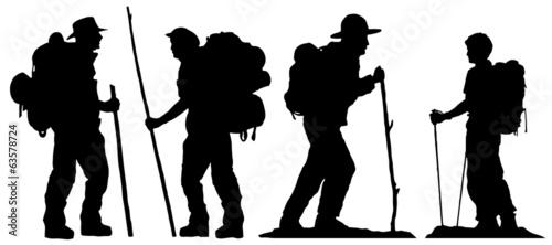 Fotografie, Obraz  hiker silhouettes