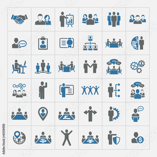 Fotografie, Obraz  Human resources and management icons set