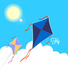 Kites Fly On A Blue Sky During...