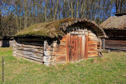 Fotobehang Zwavel geel ukrainian wooden shed