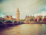 Fototapeta Big Ben - Retro look Westminster Bridge