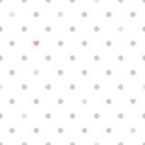 Kropki z serca bez szwu wzór - biały i szary. - 63592170