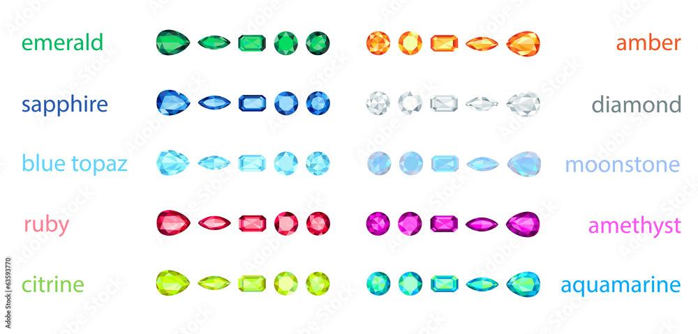 Valokuva  big set of variety gemstone. EPS10, no gradient, no transparency