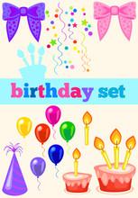 Birthday Set With Ribbons. Bir...