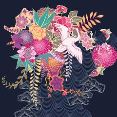 Naklejka Style Decorative kimono floral motif