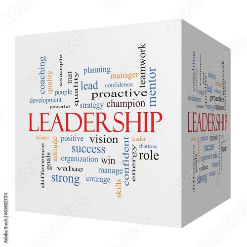 Fotografie, Obraz  Leadership 3D cube Word Cloud Concept