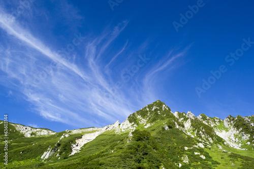 Fotografie, Obraz  千畳敷カールと青空にたなびく高層雲