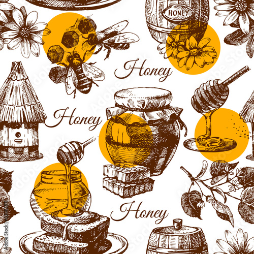 Cotton fabric Honey seamless pattern with hand drawn sketch illustration