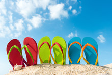 Row Of Colorful Flip Flops On ...