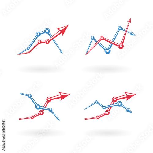 Deurstickers Geometrische dieren Business graph icons set