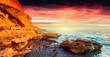 Leinwandbild Motiv Panorama of the colorful summer sunrise