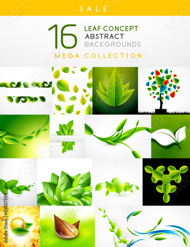 In de dag Regenboog Mega collection of leaf abstract backgrounds