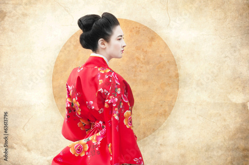 Vintage style portrait of a woman in red kimono Fototapet