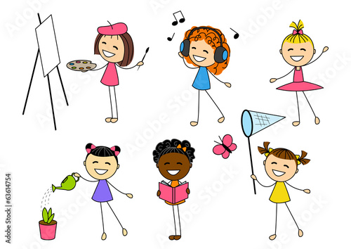Fotografia  Set of little girls with different hobby