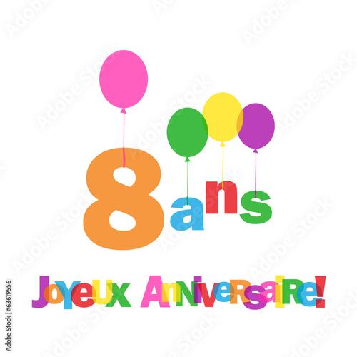 "Carte 8 Ans Joyeux Anniversaire Fete Voeux Felicitations Adobe Stock Á§ã""のストックベクターを購入して É¡žä¼¼ã®ãƒ™ã'¯ã'¿ãƒ¼ã''さらに検索 Adobe Stock"