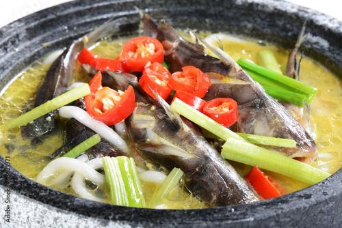 Foto op Plexiglas Xian Chinese Food: Boiled fish in a stone pot